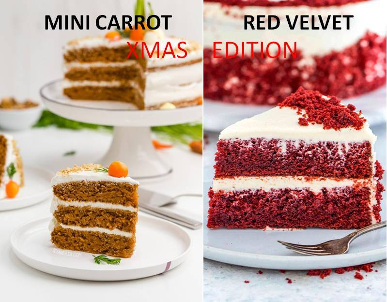 MINI CARROT AND RED VELVET CAKE - XMAS EDITION