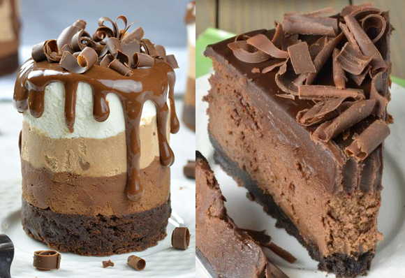 TRIPLE BROWNIE MOUSSE CAKE & CHOC CHEESECAKE